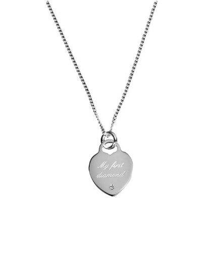 Sterling Silver 'My First Diamond' Pendant with 40cm chain
